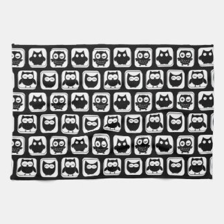 Owl Pattern in Black and White Kitchen Towel