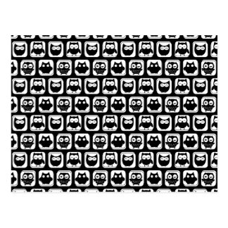 Owl Pattern in Black and White Postcard