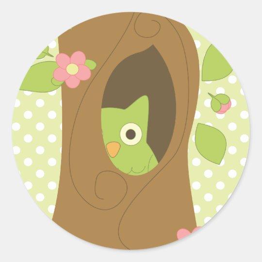 Owl Peeking Classic Round Sticker