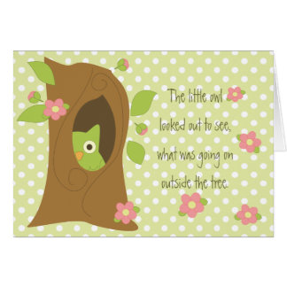 Owl Peeks Out the Tree Greeting Card