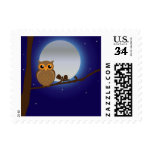 Owl Perched in Tree at Night Moon Stamp