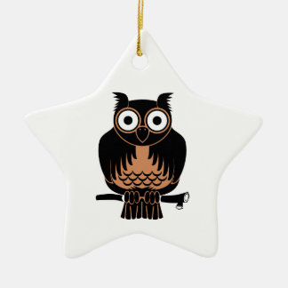 Owl Perched Upon Branch Ceramic Ornament