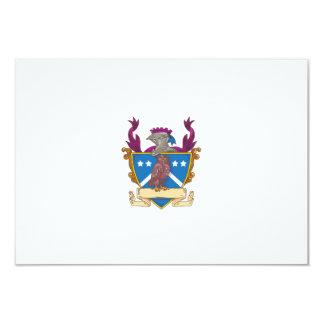 Owl Perching Knight Helmet Crest Drawing Card