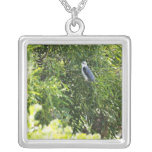 Owl perching on a tree silver plated necklace