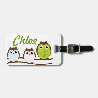 Owl Personalize Monogram Kids Teen Luggage Tag