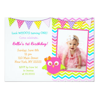 Owl Photo Birthday Party Invitation