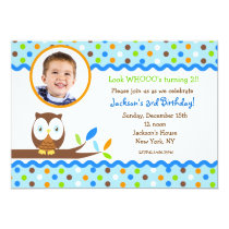 Owl Photo Birthday Party Invitations Boy