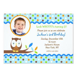 Owl Photo Birthday Party Invitations Boy