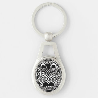 Owl Silver-Colored Oval Metal Keychain