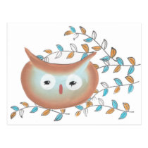Owl Picture in Brown & Teal Postcard