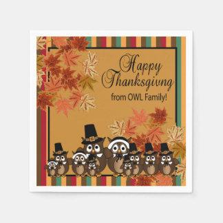 Owl Pilgrim Family Thanksgiving Napkin