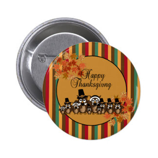 Owl Pilgrim Family Thanksgiving Pinback Button