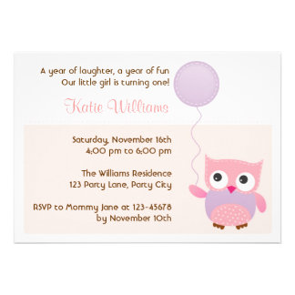 Owl (Pink) Birthday Party Invitation for Girls