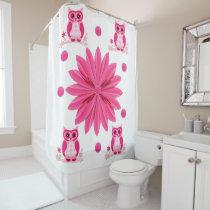 Owl pink childrens shower curtain