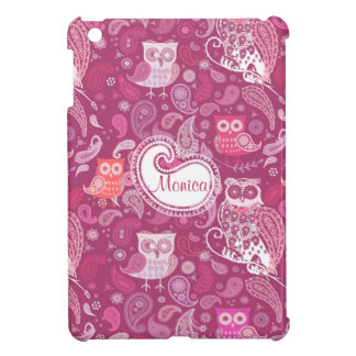 Owl pink paisley pattern iPad mini case