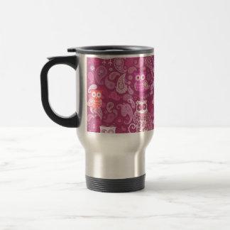 Owl pink paisley pattern 15 oz stainless steel travel mug