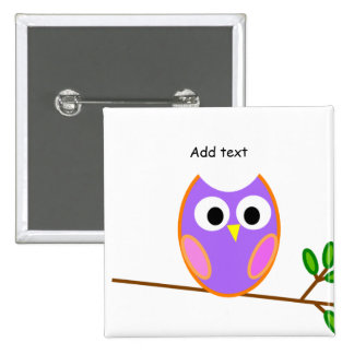 Owl: Pink & Purple Owl 2 Inch Square Button