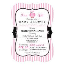 Owl; Pink Stripes Baby Shower Invitation