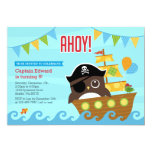 Hand shaped Owl Pirate and Owl Birthday Invitation