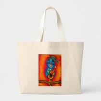 Owl playing guitar large tote bag