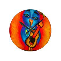 Owl playing guitar round clock
