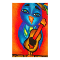 Owl playing guitar stationery