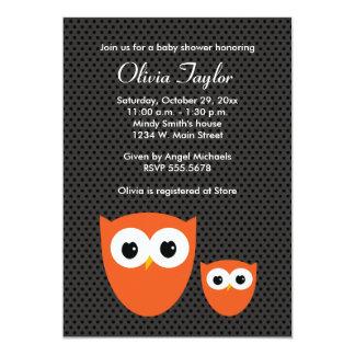 Owl Polka Dot Halloween Baby Shower Invitations