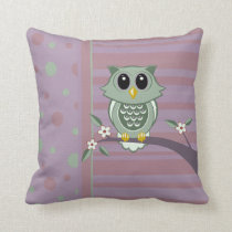 Owl Polka Dot Stripe Pattern American MoJo Pillows