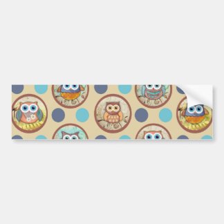 Owl Polka Dots Print Car Bumper Sticker