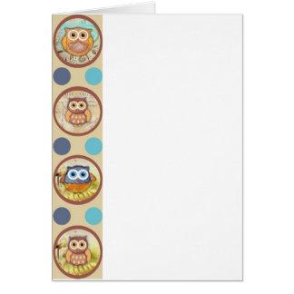 Owl Polka Dots Print Greeting Card