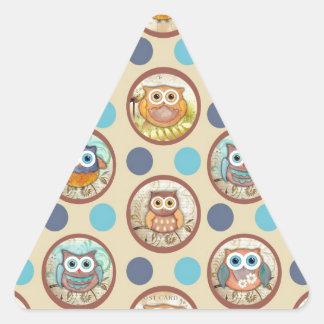 Owl Polka Dots Print Triangle Stickers