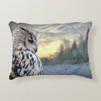 Owl portrait on winter forest background accent pillow