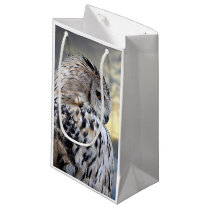 Owl portrait on winter forest background small gift bag