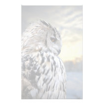 Owl portrait on winter forest background stationery