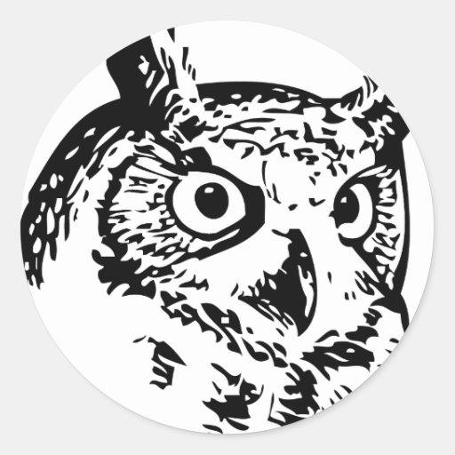 owl portrait round sticker