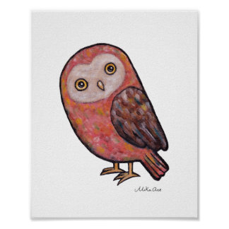 Owl Poster Owl Painting Illustration Wall Decor