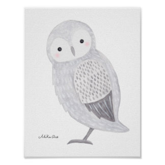 Owl Poster Snow Owl Illustration Owl Nursery Art