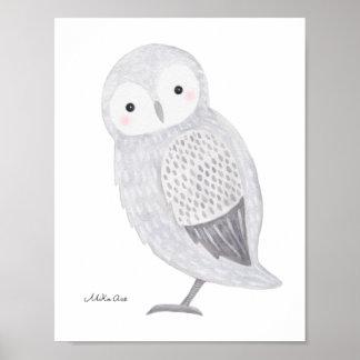 Owl Poster Snow Owl Illustration Owl Nursery Art