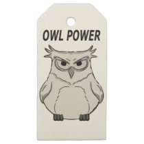 owl power wooden gift tags