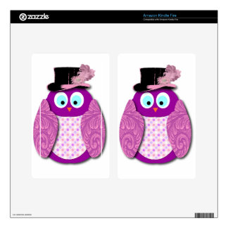 Owl - Pretty and Pink and Purple Decal For Kindle Fire
