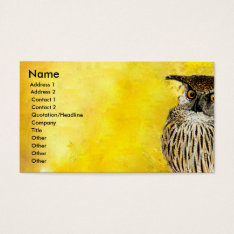 Owl Professional  Bird Design | Watercolors Business Card at Zazzle