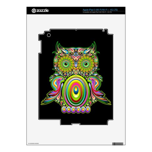 Owl Psychedelic Design iPad 3 Skin