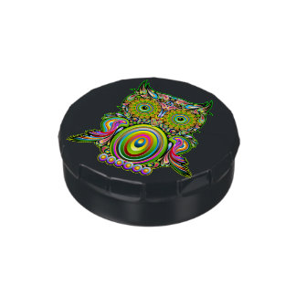 Owl Psychedelic Pop Art Candy Tin