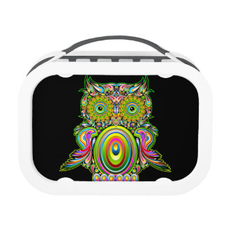 Owl Psychedelic Pop Art Design lunchbox