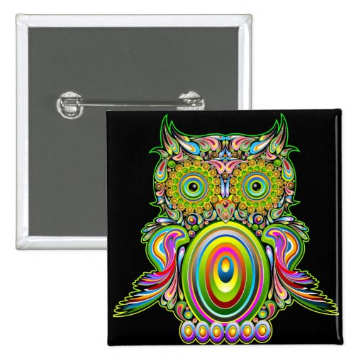 Owl Psychedelic Popart Button