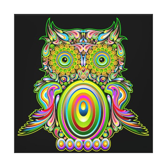 Owl Psychedelic Popart Canvas