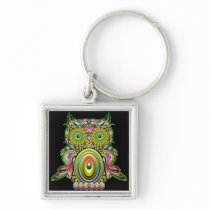 Owl Psychedelic Popart Keychain