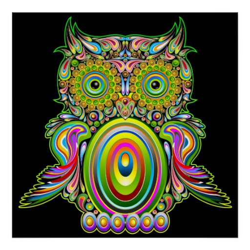 Owl Psychedelic Popart Poster