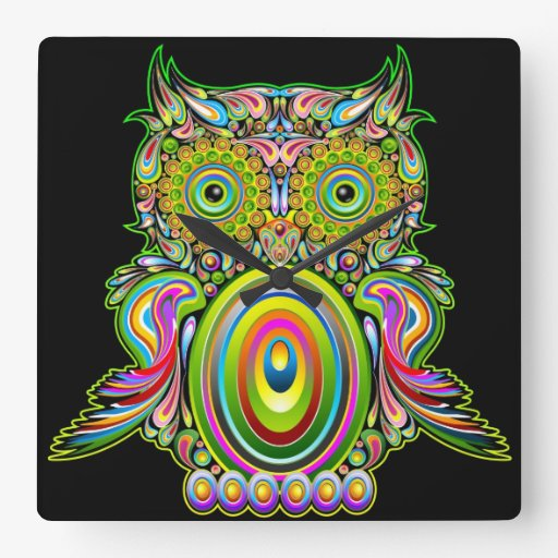 Owl Psychedelic Popart Wall Clock