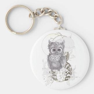 Owl Pumpkin Zentangle Halloween Key Chain